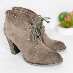 Luxury Rebel Suede Lacy Up Booties Gray Dark Taupe